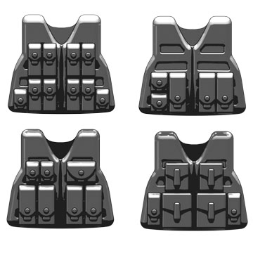 BrickArms: Light Combat Vest (LCV) Pack, including 2 each of SAW, Sidearm, Recon and Rifleman , Color: Dark Gray