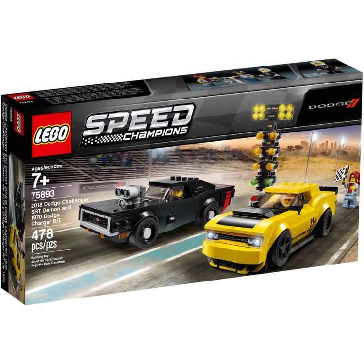 LEGO Speed Champions Sets: 75893 2018 Dodge Challenger SRT Demon and 1970 Dodge Charger R/T NEW