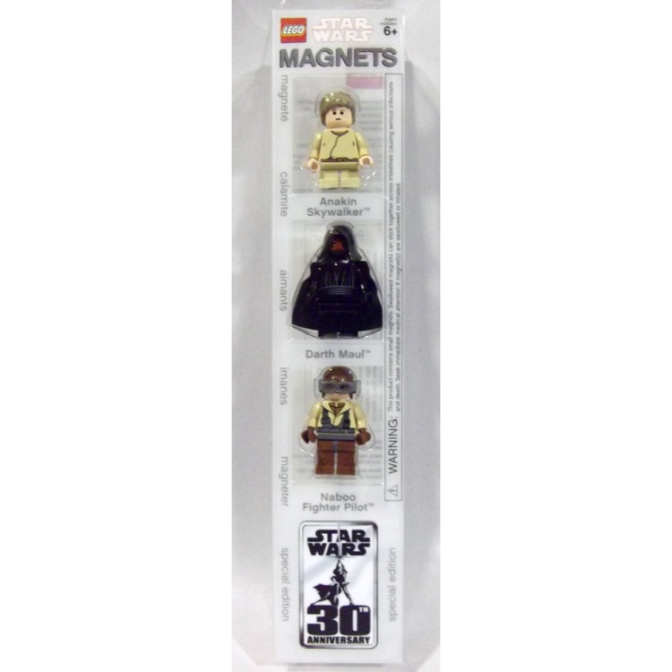 LEGO Star Wars Sets: Special Edition 852086 Young Anakin Skywalker, Darth Maul, and Naboo Fighter Pilot minifigure Magnets NEW