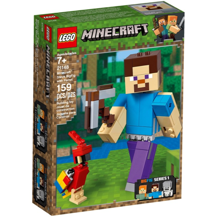 LEGO Minecraft Sets: 21148 Minecraft Steve BigFig with Parrot NEW