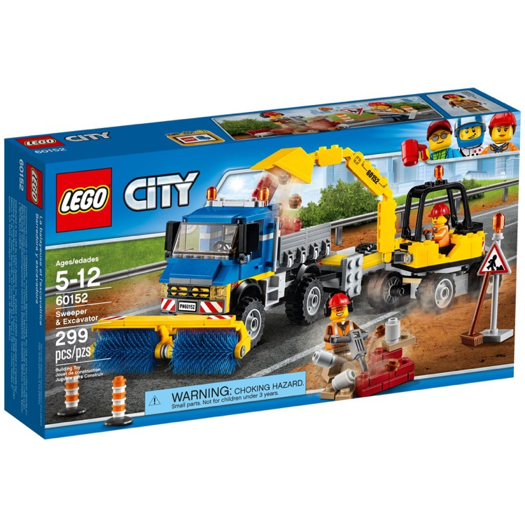 LEGO Town Sets: City 60152 Sweeper & Excavator NEW *Rough Shape*
