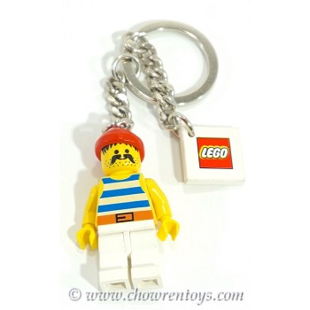 LEGO Pirates Sets: KC043 Pirate with Blue / White Stripes Shirt, White Legs and Red Bandana Key Chain NEW